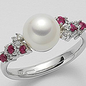 Anello oro bianco una perla