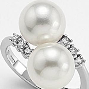 Anello oro bianco due perle