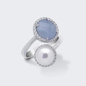 Anello argento e perla