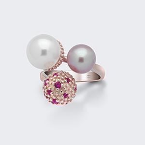Anello argento due perle
