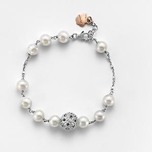 Bracciale Perle Bianche /Zirconi Neri