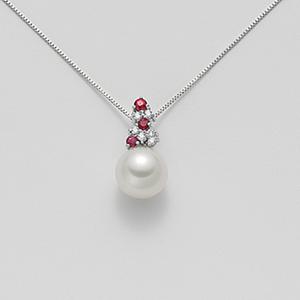 Collana una perla e rubini
