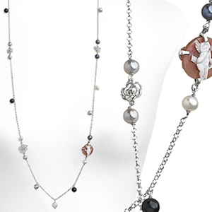 Collana argento perle e zirconi