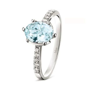 Anello Azzurra acquamarina e diamanti