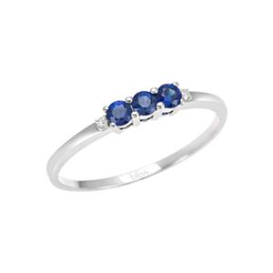 Anello diamanti e zaffiri blu