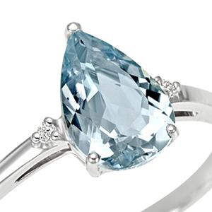 Anello Bahia diamanti e acquamarina goccia
