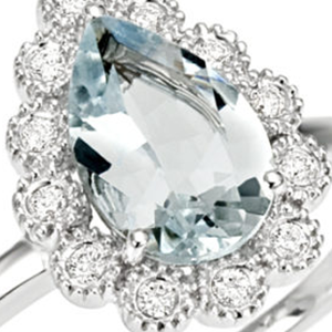 Anello Antille diamanti e acquamarina