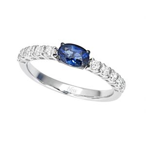 Anello Prestige Selection diamanti e zaffiro blu