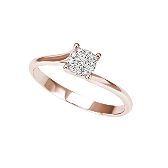 anello oro rosa con diamanti