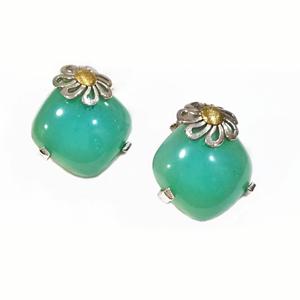 Orecchini margherita oro e agata verde