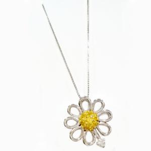 Girocollo margherita un diamante e zaffiri gialli