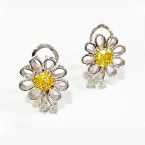 Orecchini margherita zaffiri gialli e diamanti