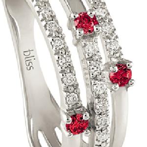 Anello Via Lattea oro bianco diamanti e rubini