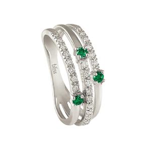 Anello Via Lattea oro bianco diamanti e smeraldi